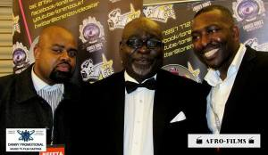 Danny Erskine hosting the Afro Films red carpet interview, Kofi Ajorolo Award winning actor and Jay Ejike CEO of Afro-Films.